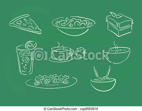 Ilustraciones de comida en la pizarra - csp9063916