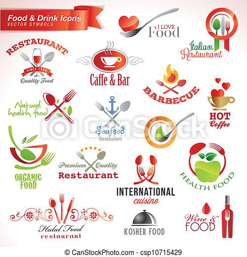 alimento, jogo, bebida, ícones - csp10715429