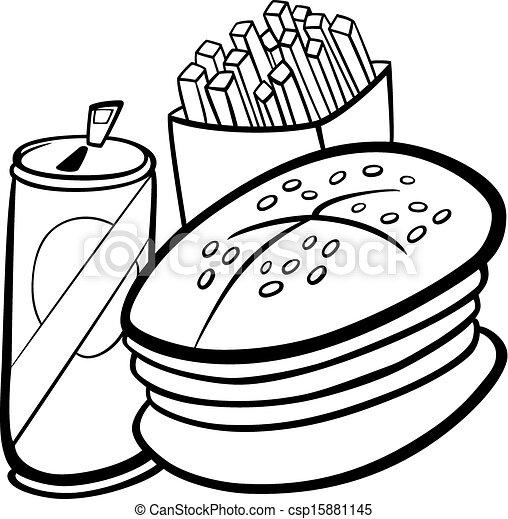 Alimento, libro colorear, rápido, caricatura. Colorido, conjunto ...