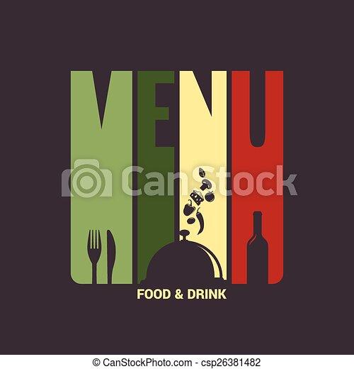 Comida y bebida de fondo de diseño de etiquetas de menú - csp26381482