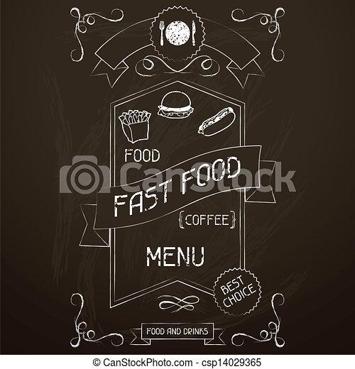 Comida rápida en la pizarra del menú del restaurante. - csp14029365