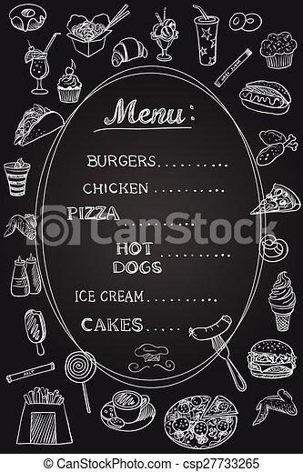 Menú de comida en pizarra - csp27733265