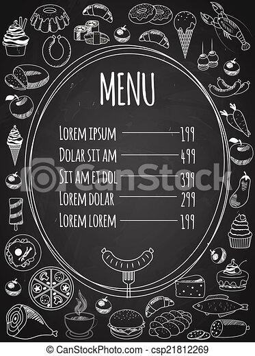 Menú de comida sin vector en pizarra - csp21812269