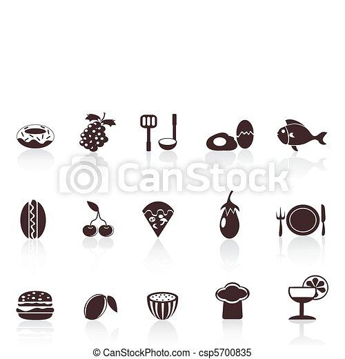 iconos de comida negra - csp5700835