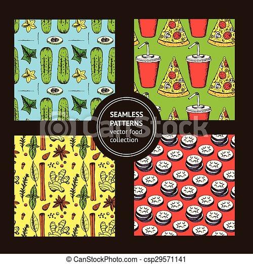 alimento, padrão, esboço, estilo, vindima - csp29571141