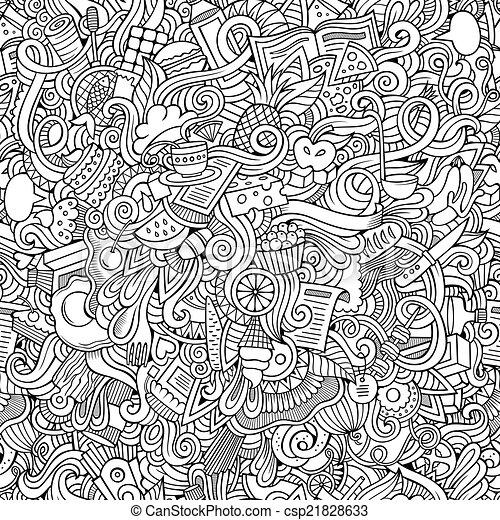 alimento, padrão, seamless, mão, desenhado, doodles - csp21828633