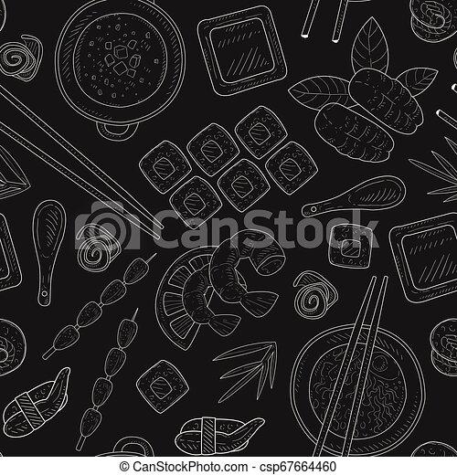 Patrón de comida japonesa sin costura a mano dibujado en ilustración de vectores de pizarra - csp67664460