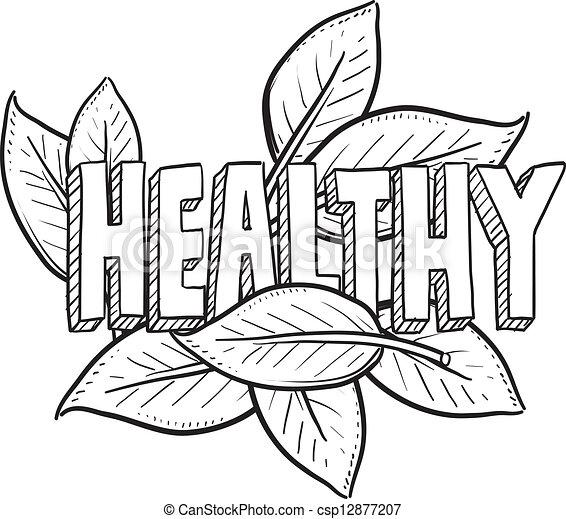 alimento sano, bosquejo - csp12877207