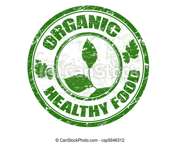 Un sello de comida saludable orgánico - csp5646312