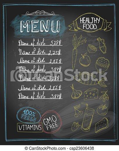 Menú de comida saludable de pizarra - csp23606438