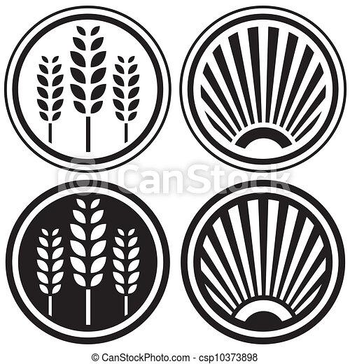 alimento saudável, grão, símbolos - csp10373898