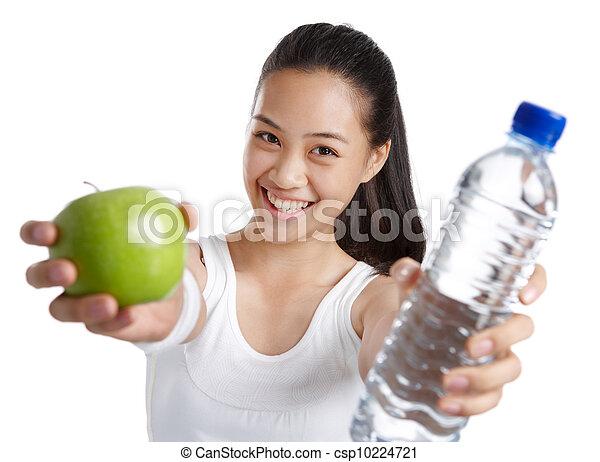 alimento saudável, menina, condicão física - csp10224721