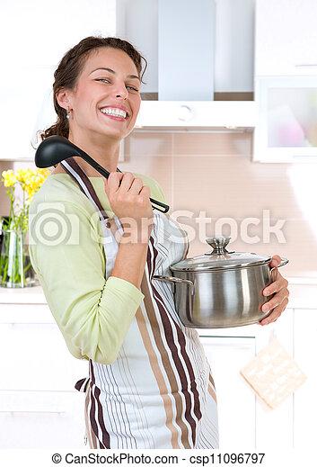alimento saudável, mulher, cozinhar, jovem - csp11096797