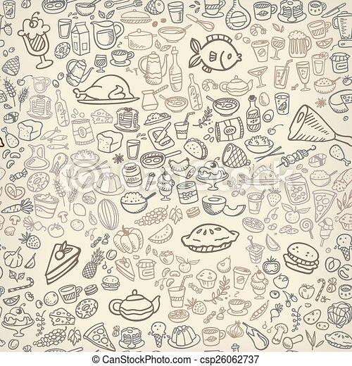 alimento, seamless, fundo, ícones - csp26062737