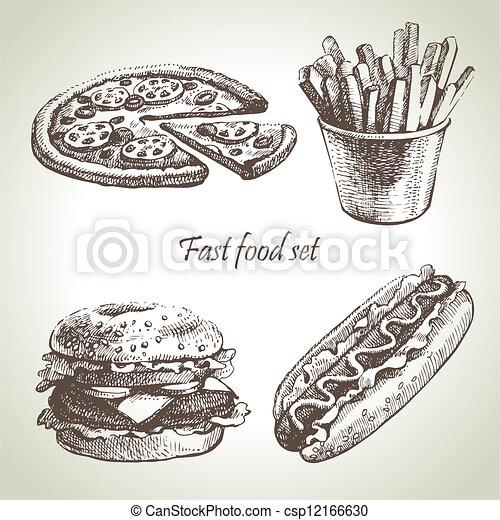 alimento, set., rapidamente, mão, ilustrações, desenhado - csp12166630