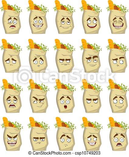 alimento, sorrisos, sacos papel - csp10749203