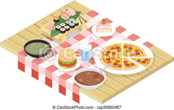 Los iconos de comida en la mesa - csp30860487