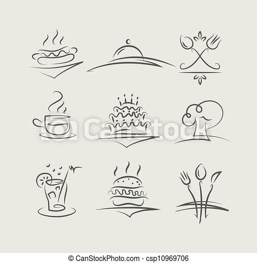 alimento, utensílios, jogo, vetorial, ícones - csp10969706