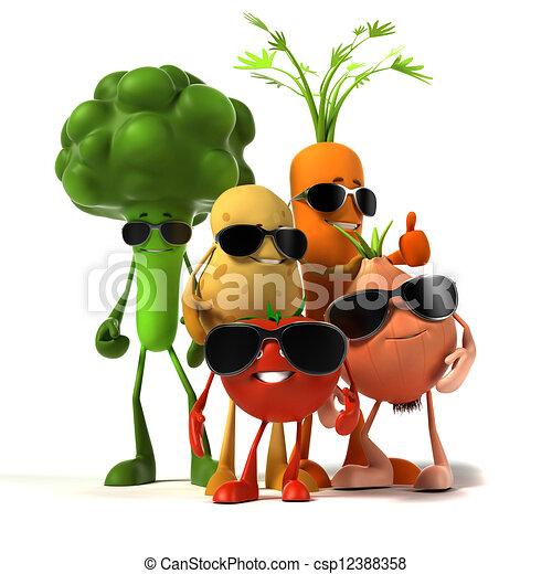 alimento, vegetal, -, personagem - csp12388358