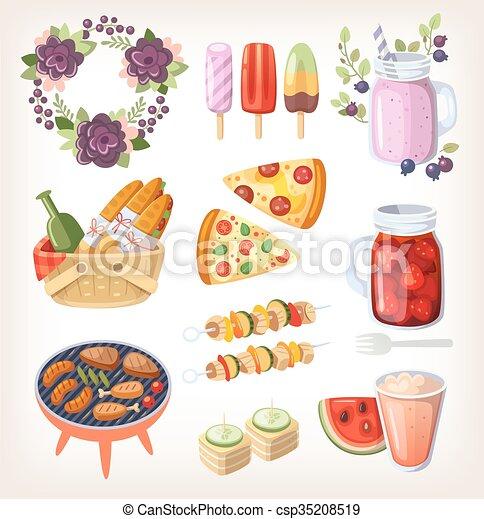 alimento, verão, recreação, elementos - csp35208519