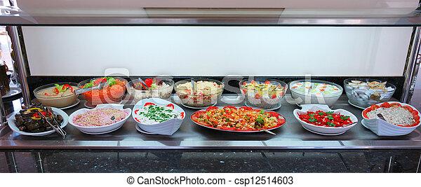 Ensalada de vegetales frescos, barra de comida - csp12514603