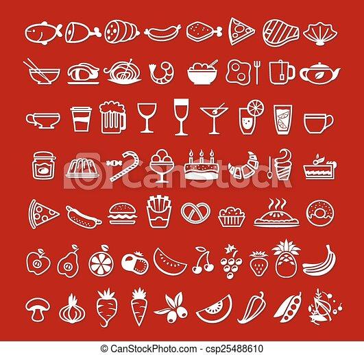 alimento, vetorial, ícones - csp25488610