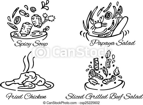 Comida tailandesa vector blanco y negro - csp25225602