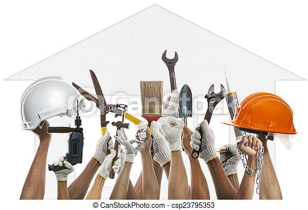alkalmaz, dolgozó, f, épület, szerszám, backgroud, ellen, kéz, motívum, otthon - csp23795353