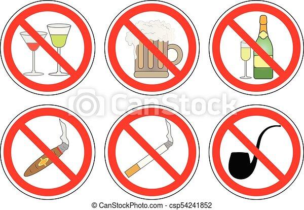 Alkohol Satz Nein Zeichen Verbot Vector Qualmende Trinken