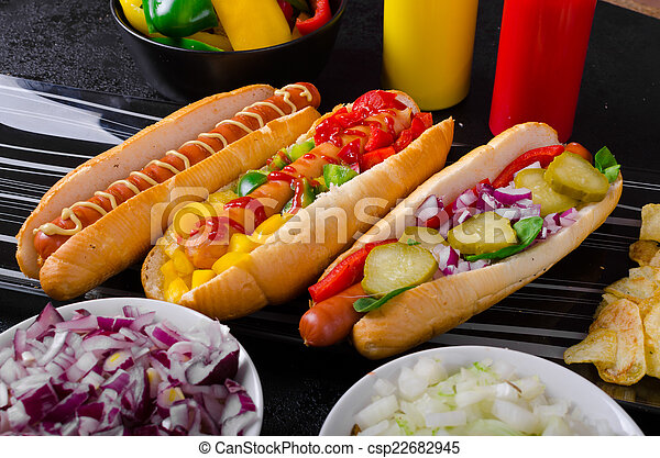 All beef dogs, variantion of hot dogs - csp22682945