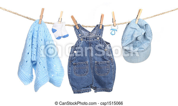 All Boy Clothing Hanging on a Clothesline - csp1515066