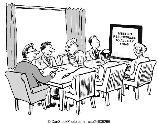 all day meeting cartoon of team business meeting that has been
