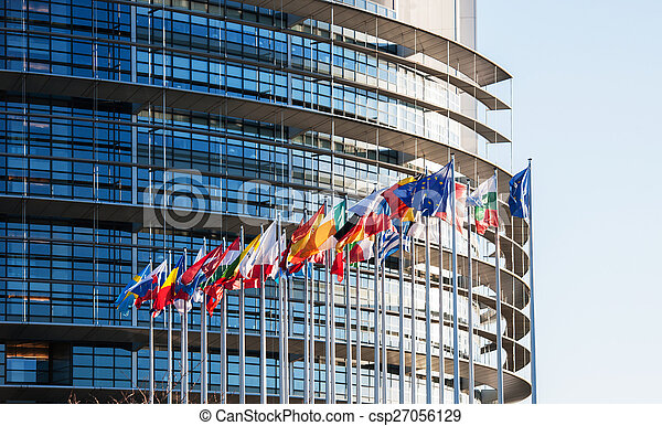 All European Union flags in front of parliament eu - csp27056129