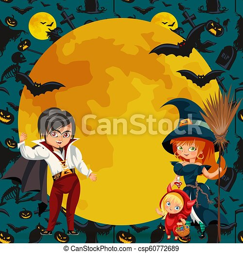 Halloween Costumes 07726.All Hallows Eve Family Party Flat Poster Vector Illustration Cartoon Smiling Parents With Daughter Dressed In Nice Halloween