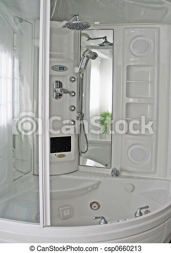 All in one shower. White shower and bath and steam bath all in one.