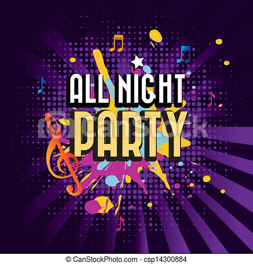 All night party over purple background vector illustration.