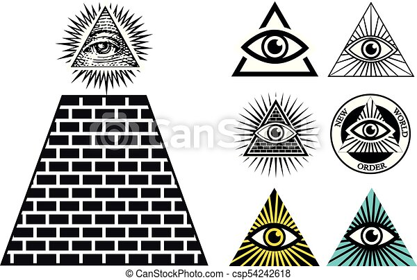 All Seeing Eye Icons Set Pyramid Illuminati Symbol