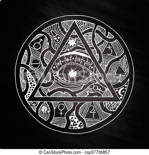 563d8f6804595 All seeing eye pyramid symbol design on chalkboard. All seeing eye ...