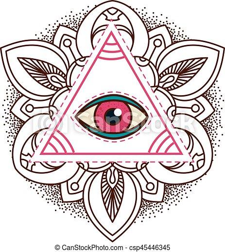 All Seeing Eye Pyramid Symbol Old School Tattoo Mystic Sign Of Alchemy Providence The Occult Magic Freemasonry And Illuminati Conspiracy
