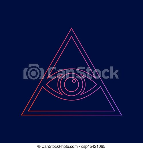 All seeing eye pyramid symbol. Freemason and spiritual. Vector. Line icon with gradient from red to violet colors on dark blue background. - csp45421065