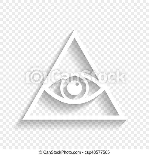 All Seeing Eye Pyramid Symbol Freemason And Spiritual Vector White Icon With Soft Shadow On