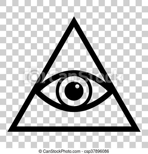 All Seeing Eye Pyramid Symbol Freemason And Spiritual Flat