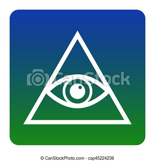 All seeing eye pyramid symbol. Freemason and spiritual. Vector. White icon at green-blue gradient square with rounded corners on white background. Isolated. - csp45224236