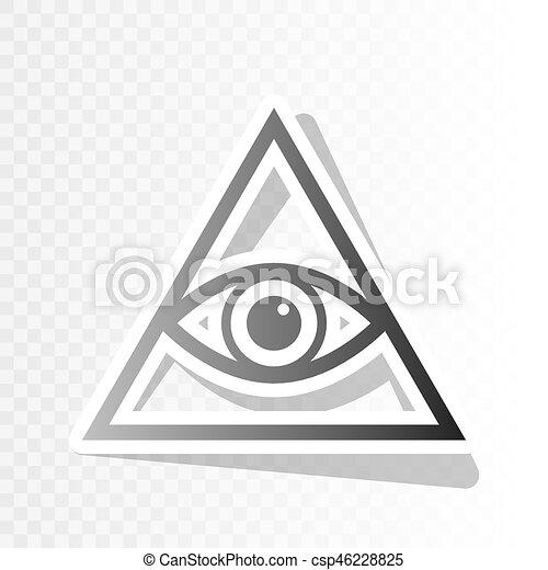 All Seeing Eye Pyramid Symbol Freemason And Spiritual Vector New Year Blackish Icon On