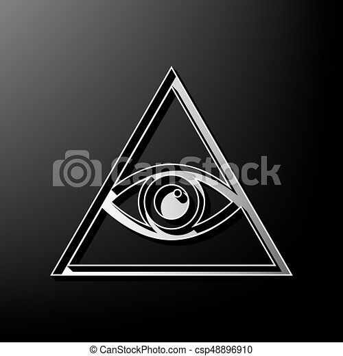 All Seeing Eye Pyramid Symbol Freemason And Spiritual Vector Gray 3d Printed Icon On Black