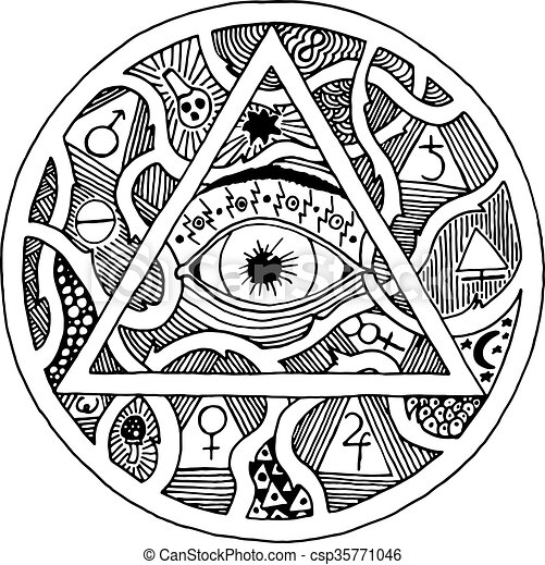 182e3e57b9431 All seeing eye pyramid symbol in tattoo engraving design. vintage hand drawn  freedom, spiritual, occultism and mason sign in doodle style. eye of  providence ...