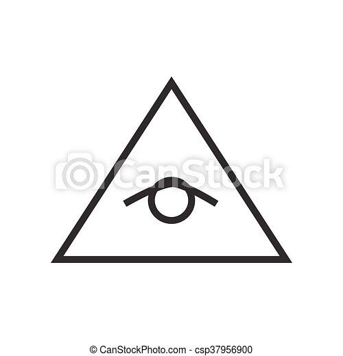 All Seeing Eye Pyramid Vector Line Illustration Icon Symbol