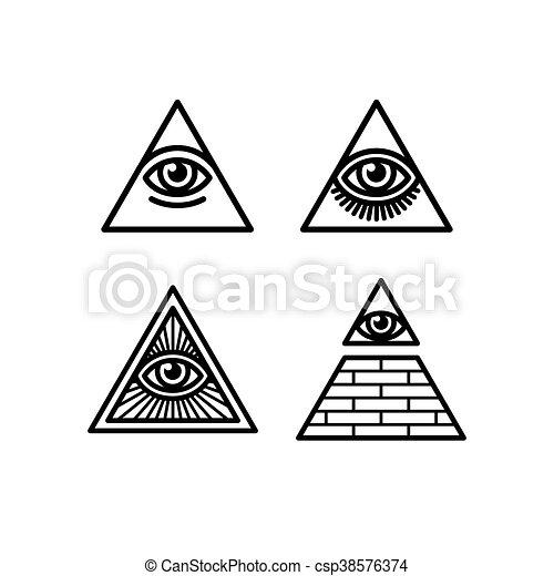 All Seeing Eye Symbols Set All Seeing Eye Icons Set Illuminati