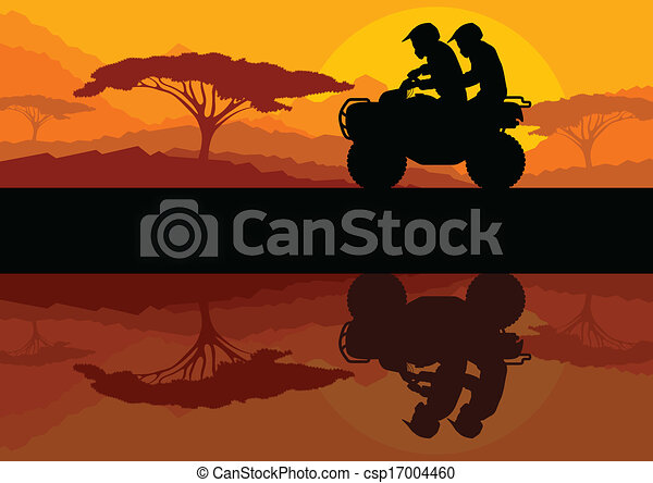All terrain vehicle quad motorbike riders in wild nature landscape background illustration vector - csp17004460