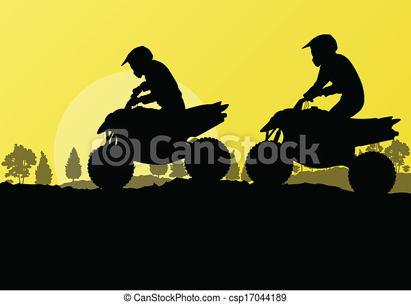 All terrain vehicle quad motorbike riders in countryside forest nature landscape background illustration vector - csp17044189